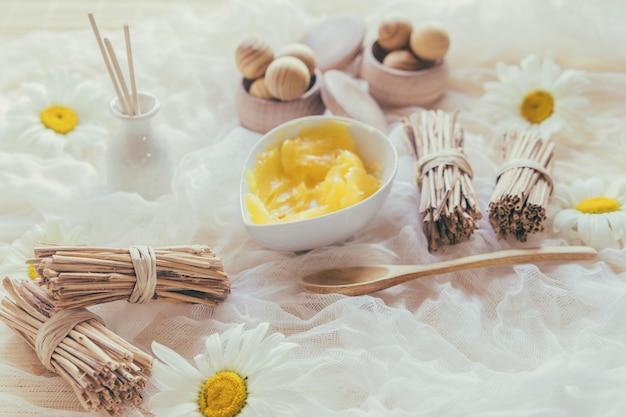 Grupos de varas e manteiga de karité