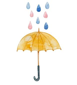 Guarda-chuva amarelo aquarela, gotas de chuva.
