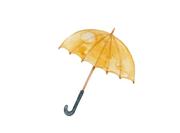 Guarda-chuva amarelo aquarela sobre fundo branco