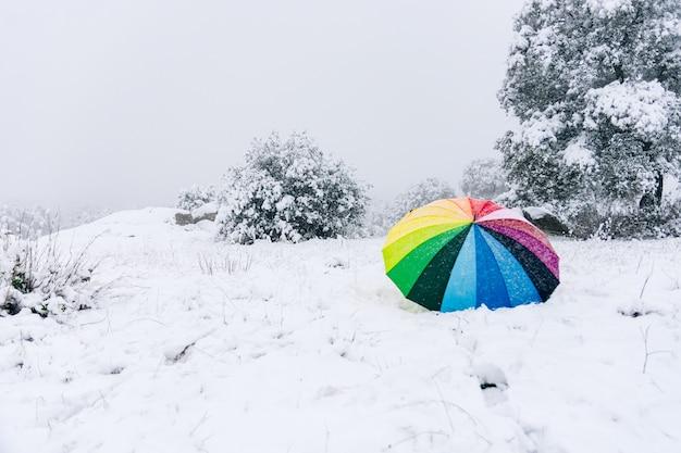 Guarda-chuva colorido abandonado na zona rural durante uma nevasca.