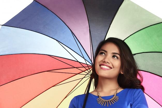 Guarda-chuva de exploração de mulher asiática