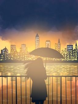 Guarda-chuva de mulheres bonitas com reflexão da cidade