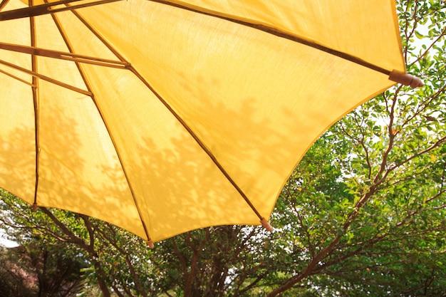 Guarda-chuva do pátio com fundo de árvore