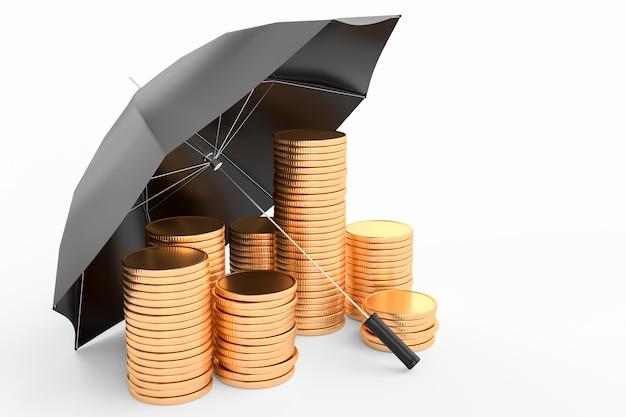 Guarda-chuva e pilha de moedas de ouro