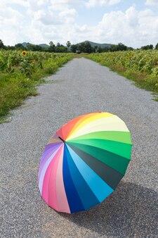 Guarda-chuva multi-colorido na rua.