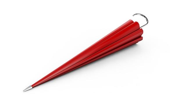 Guarda-chuva ou guarda-sol vermelho com cabo preto isolado no fundo branco 3d render