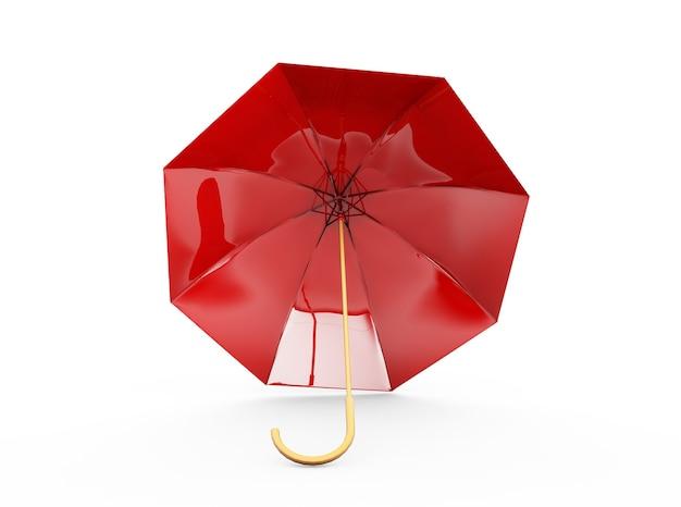Guarda-chuva ou guarda-sol vermelho com cabo preto isolado no fundo branco renderização 3d