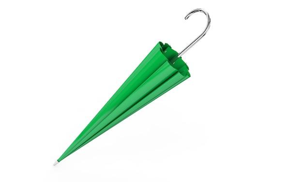 Guarda-chuva ou sombrinha com cabo preto isolado no fundo branco renderização 3d