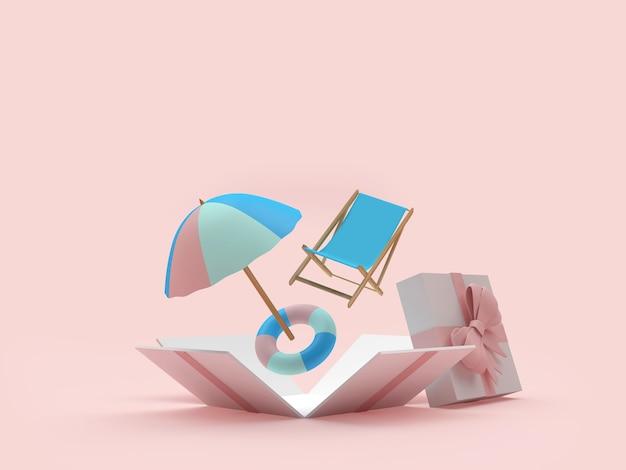 Guarda-sol e espreguiçadeira em uma caixa de presente aberta
