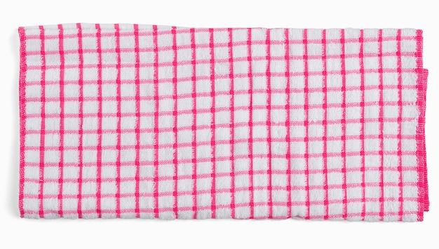 Guardanapo de cozinha xadrez branco vermelho. toalha isolada na vista superior plana do espaço em branco.