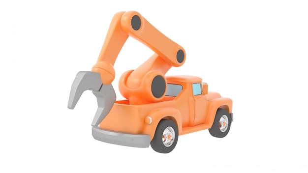Guindaste de caminhão de brinquedo isolado sobre backgroung branco