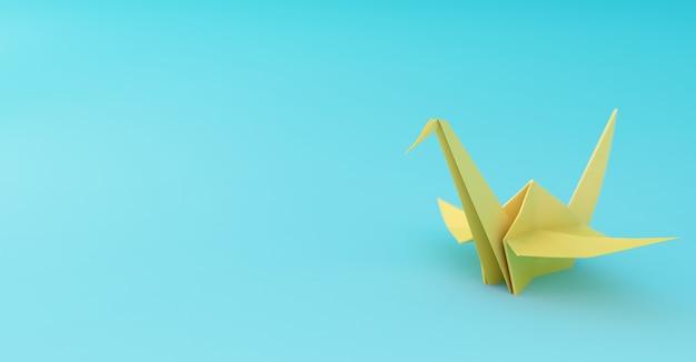 Guindaste de origami amarelo