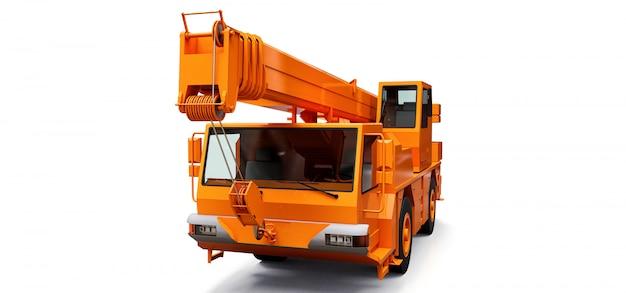 Guindaste móvel laranja. ilustração tridimensional