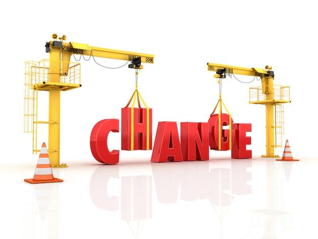 Guindastes construindo a palavra change