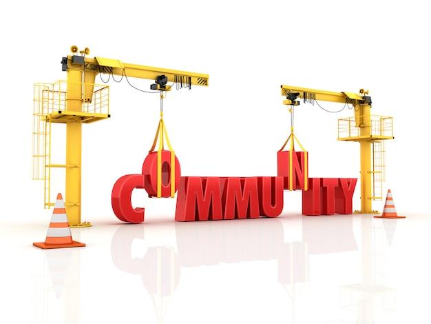 Guindastes construindo a palavra comunidade