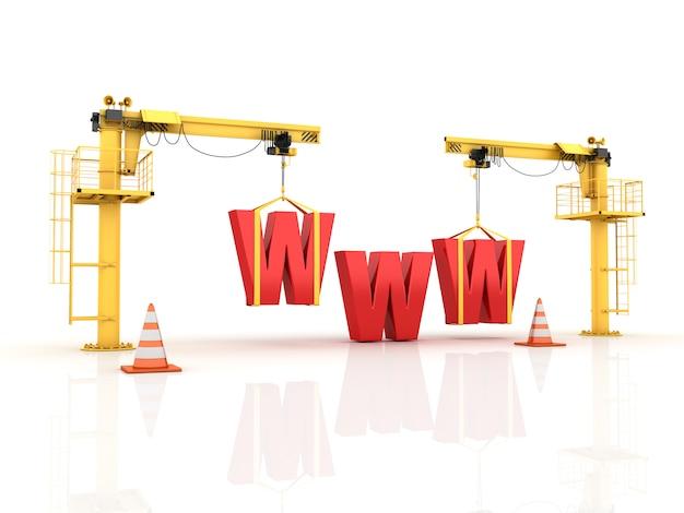 Guindastes construindo as letras da www