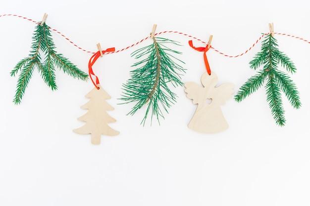 Guirlanda de árvore de abeto de artesanato de ano novo ou natal