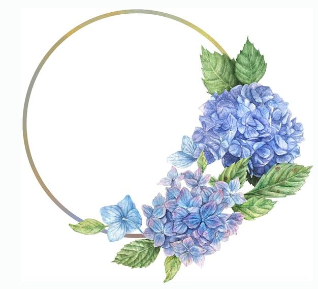 Guirlanda desenhada à mão com flores de hortênsia azuis