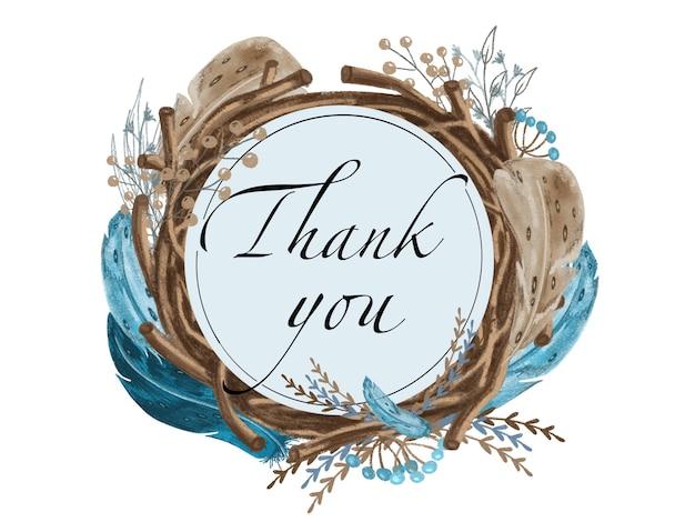 Guirlanda floral com penas e folhas azuis escuras e palavras obrigado, pintada à mão em um fundo branco, estilo boho