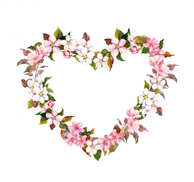 Guirlanda floral - forma do coração. flores cor de rosa. aquarela para dia dos namorados, casamento no estilo boho vintage