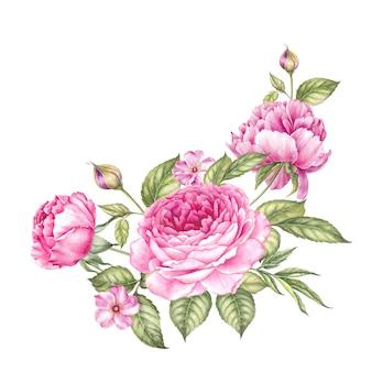 Guirlanda vintage de rosas florescendo.