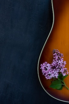 Guitarra acústica e ramo lilás em fundo cinza escuro.