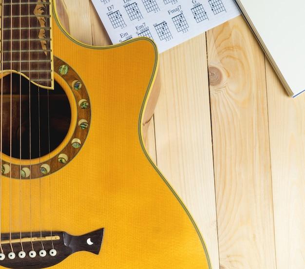 Guitarra com caderno musical para escrever músicas.