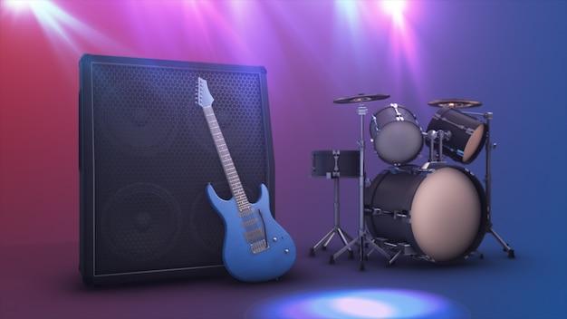 Guitarra elétrica azul com uma grande combinação e bateria definir ilustração 3d