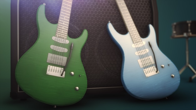 Guitarra elétrica azul e verde com ilustração 3d grande close-up
