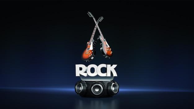Guitarra elétrica com alto-falantes 3d