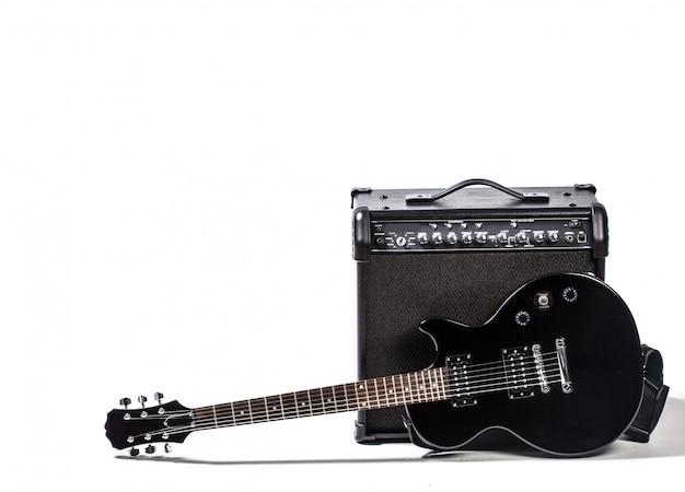 Guitarra elétrica, isolado, branco