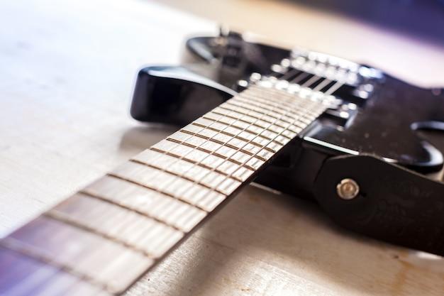 Guitarra elétrica, ligado, antigas, madeira, superfície