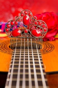 Guitarra espanhola cassic com elementos de flamenco
