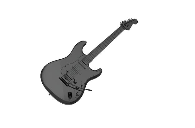 Guitarra preta em fundo branco