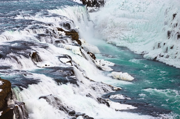 Gullfoss ou cachoeira dourada na temporada de inverno