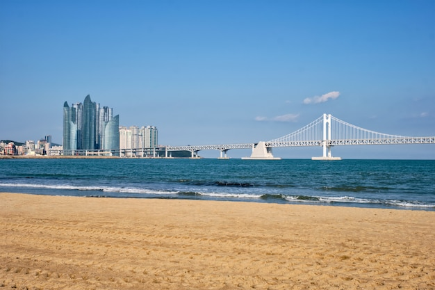 Gwangalli beach em busan, coréia do sul