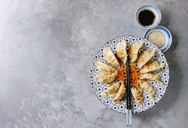Gyozas potstickers bolinhos asiáticos