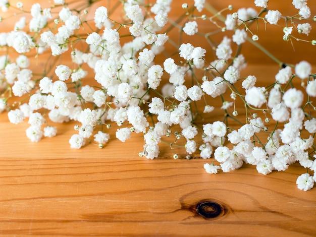 Gypsophila paniculata, flores de respiração do bebê na superfície de madeira. composição plana lay.