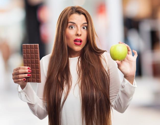 Hábitos de dieta escolha pessoa retrato