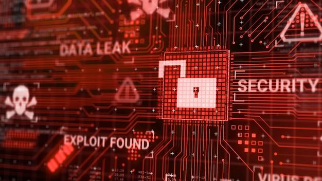 Hacker ataca microchip de hardware de computador enquanto processa dados através de rede de internet, renderização 3d insegura, conceito de violação de banco de dados de exploração de segurança cibernética, tela de alerta de desbloqueio de malware de vírus