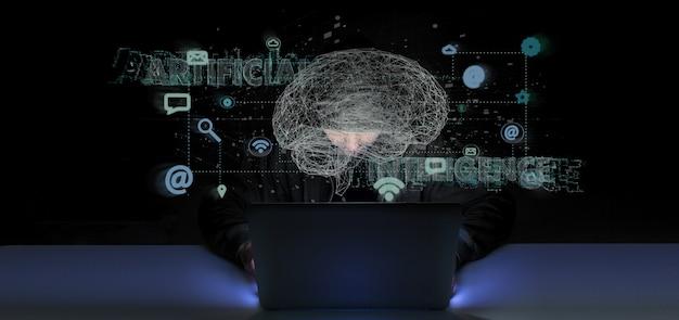 Hacker, ativando um conceito de inteligência artificial de renderização 3d