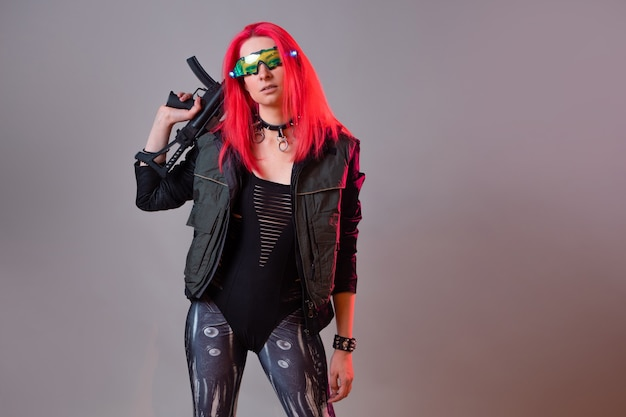 Hacker futurista de techno bandit uma imagem fantástica de uma jovem