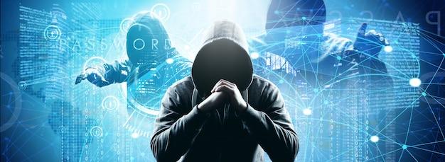 Hacker imprime um código em um teclado de laptop para invadir um ciberespaço Foto Premium