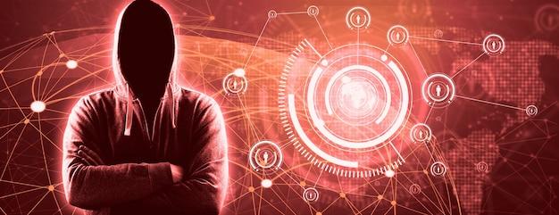 Hacker imprime um código em um teclado de laptop para invadir um ciberespaço