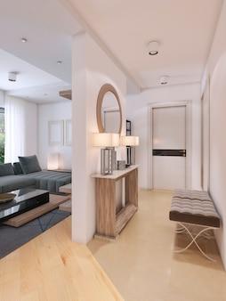 Hall de entrada luxuoso em estilo moderno com mesa para chaves e espelho. renderização 3d
