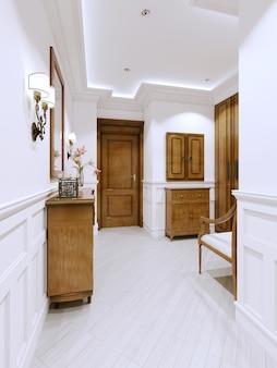 Hall hall de entrada em apartamento moderno em estilo clássico, com cômoda e painéis de parede em branco, renderização em 3d.