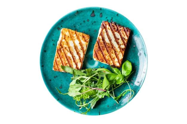 Halloumi grill queijo grelhados churrasco frito refeição lanche cópia espaço comida fundo rústico