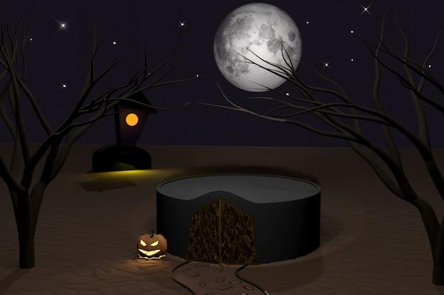Halloween 3d render de um pódio vazio com castelo escuro, abóboras de halloween luminosas jack-o-lantern, lua tola, árvores e caminho de pedra. férias de outono. cena para mostrar qualquer produto para publicidade.