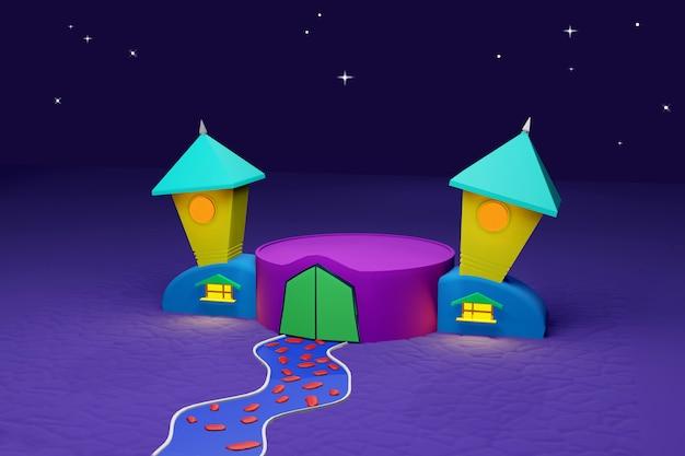 Halloween 3d render do pódio vazio com o castelo colorido dos desenhos animados com caminho de pedra sob a luz das estrelas. férias de outono. cena para mostrar qualquer produto para publicidade.