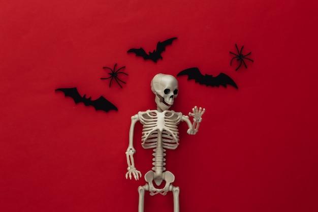 Halloween, decorações e conceito assustador. esqueleto e aranhas, morcegos pretos voam sobre o vermelho